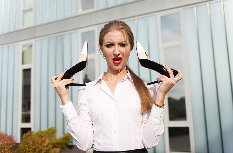 Experts say a 3-inch heel stresses your foot 7 times more than a 1-inch heel.